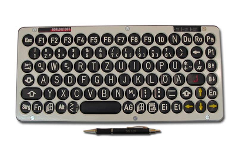 Cherry Tastatur Typ G84-4100 mit inverser sehbehindertengerechter Beschriftung und weißer Abdeckplatte