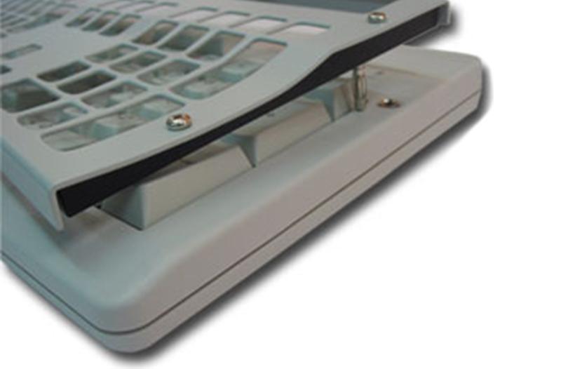Cherry Tastatur Typ G80-3000, Detail- ansicht bei abgenommener Abdeckplatte